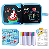 Ulikey Portatile da Disegno per Bambini Doodle Disegno Giocattoli per Bambini Libro di Pittura Graffiti Riutilizzabile con 14 Pagine 12 Penne Cancellabili Colorate, Lavagna a Doppia Faccia (Macchina)