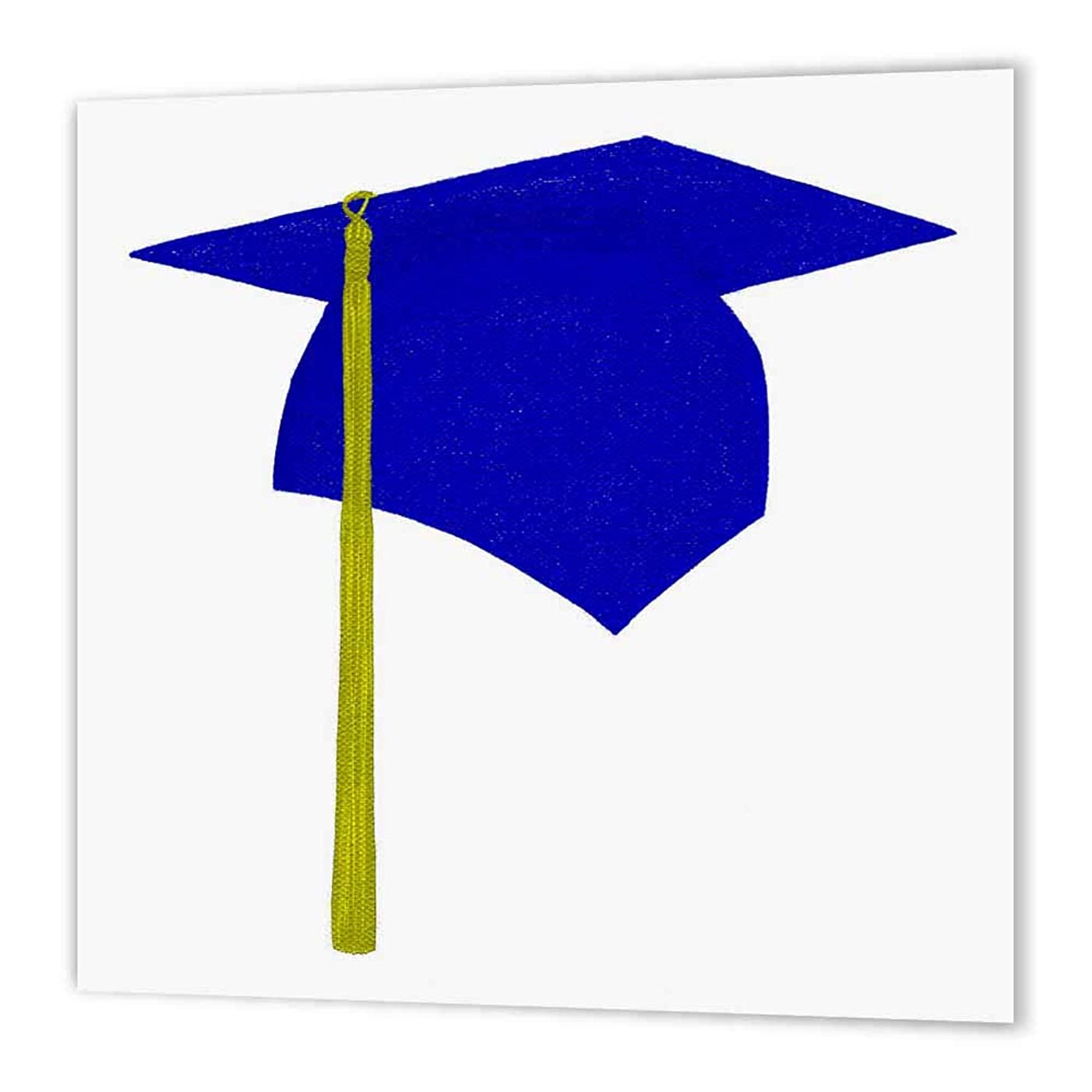 3dRose ht_17544_1 Blue Cap & Yellow Tassel Graduation Iron on Heat Transfer Paper for White Material, 8 by 8