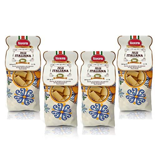 Livera Biologisch Paccheri 4 x 500 Gr, Riesige Kurze Pasta Bio aus Hartweizengrieß Bio 100% Made in Italy, Paccheri Bronze Gezeichnet, Hochwertige Getrocknete Handwerkliche Pasta Paket, Kochen 12'