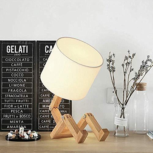 ELINKUME hölzerne Roboter Tischlampe dekorative Lampe stilvolle Einfachheit Massivholz Schlafzimmer Wohnzimmer Schreibtischlampe - kann Bücher platzieren