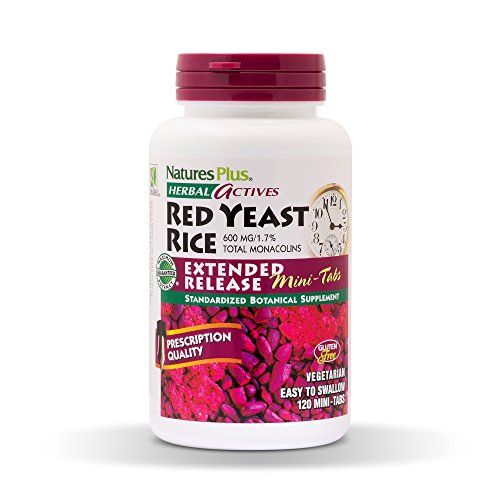NaturesPlus Herbal Actives Red Yeast Rice, Extended Release 2 Pack - 600mg, 120 Mini Tablets - Herbal Supplement, Cholesterol Support - Vegan, Vegetarian, Gluten-Free - 120 Total Servings
