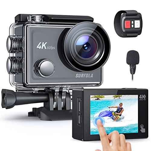 Surfola Action Cam, Touch Screen 4K/60fps Stabilizzata WiFi, Impermeabile 40M Videocamera Subacquea, Zoom 8X Microfono Esterno con Telecomando
