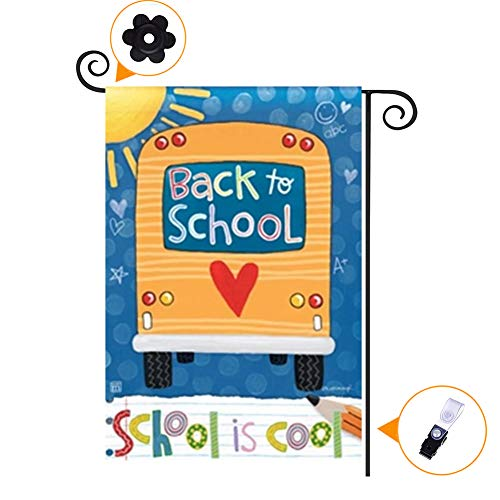 HILUCK Back to School Garden Flag with Colorful School Bus Sunshine Pencil,House Yard Flags Outdoor Banner for Home Welcome Back Decorations, Vertical Double Sided Decorative 12 x 18 inch