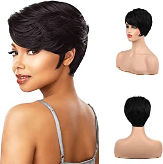 Kaneles Short Black Curly Wig for Black Women Synthetic Natural Pixie Cut Heat Resistant Daily Hair Wigs