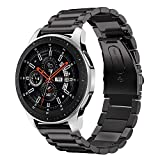 iBazal Cinturino Gear S3 Metallo Braccialetto 22mm Acciaio Compatibile con Samsung S3 Frontier/Classic,Galaxy Watch 46mm,Huawei Watch GT/Honor Magic/2 Classic,Ticwatch Pro (Orologio Non Incluso) - Ner