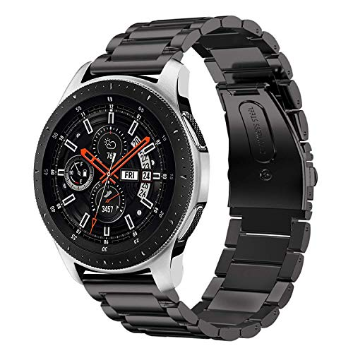 iBazal 22mm Correas Banda Metal Reemplazo para Gear S3 Frontier/Classic,Samsung Galaxy Watch 46mm,Huawei GT/2 Classic,Ticwatch Pro Reloj Acero Inoxidable Pulseras - Negro