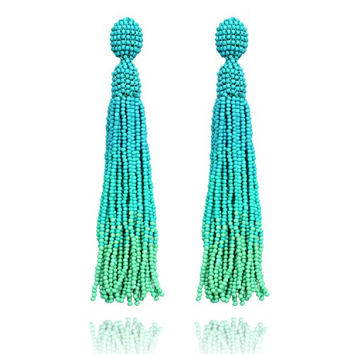 Turquoise Long Beaded Tassel Drop Dangle Fringe Bohemian Stud Earrings for Women Girls
