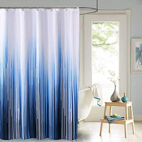 JRing Duschvorhang Textil 180x200 Gelbe blätter Schimmelresistenter & Wasserabweisend Shower Curtain mit 12 Weiß Duschvorhangringen