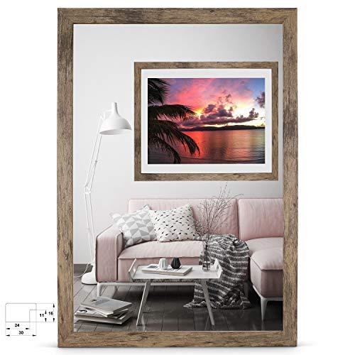rahmengalerie24 Bilderrahmen 50x75 cm Rahmen Braun Holz Acrylglas ohne Passepartout Portraitrahmen Fotorahmen Wechselrahmen für Foto oder Bilder MDF Dekorahmen ohne Bild Alice