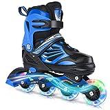 DIKASHI Black Blue Adjustable Inline Skates Boys Girls Kids Size,Light Up Adult Roller Blades Skates for Boys Girls Kids Outdoor