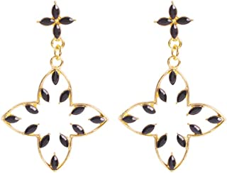 Solememo Gold Tone Chic Multicolored Rhinestones Stud with Hollow Flower Drop Statement Earring Best Gift for Women Girls