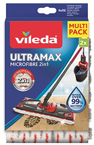 Vileda UltraMax Recambio para Escoba Plana, Microfibra, Blanco y Rojo, tamaño estándar
