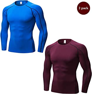 Men's 2 Packs Long Sleeve Compression Workout Tight T-Shirt Cool Dry Moisture Wicking Base Layer Tops,Blueandred,XL