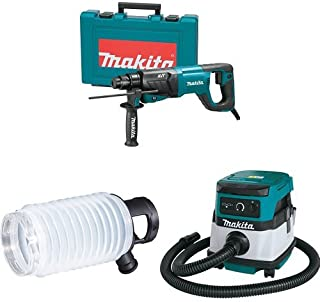 Makita HR2641 1-Inch AVT Rotary Hammer, accepts SDS-PLUS bits (D-Handle), 195173-3 Dust Extraction Cup, XCV04Z 18V X2 LXT (36V) 2.1 Gallon HEPA Filter Dry Dust Extractor/Vacuum