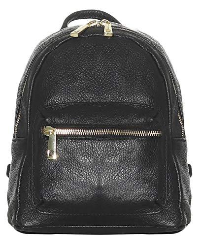 malito Damen Rucksack | Handtasche in trendigen Farben | Echtleder Rucksack | Schultertasche - Umhängetasche R500 (schwarz)