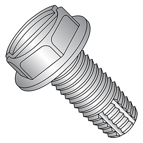 410 Stainless Steel Thread Cutting Screw, Plain Finish, Hex Washer Head, Slotted Drive, Type F, #12-24 Thread Size, 1
