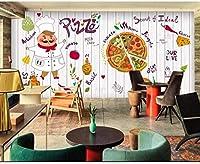Djskhf 3Dオリジナルのおいしいピザケーキ壁画壁紙装飾ピザショップ背景壁 160X100Cm