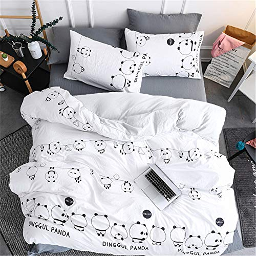 Juego de 2 fundas nórdicas de dibujos animados Panda blanco con 1 fundas de almohada Juego de sábanas de animales de dibujos animados Panda Funda nórdica de microfibra Tamaño único 135 * 200 cm