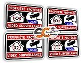 Sticker Alarme Vidéo Surveillance Autocollant (Lot de 4 Stickers Alarme Noir)