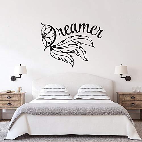 LSMYE Träumer Design Wandbilder Aufkleber Feder Stil Traumfänger Wand Vinyl Aufkleber Home Schlafzimmer Dekor Kunst blau 79X57cm
