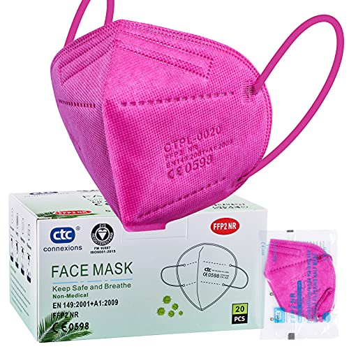 ctc connexions 20 Stück FFP2 Maske , CE0598 Zertifiziert 5-Lagen Staubschutz Masken, Einzeln Verpackt Im PE-Beutel Für Mund- Und Nasenschutz Einweg-Atemschutzmaske (Rose Rot)