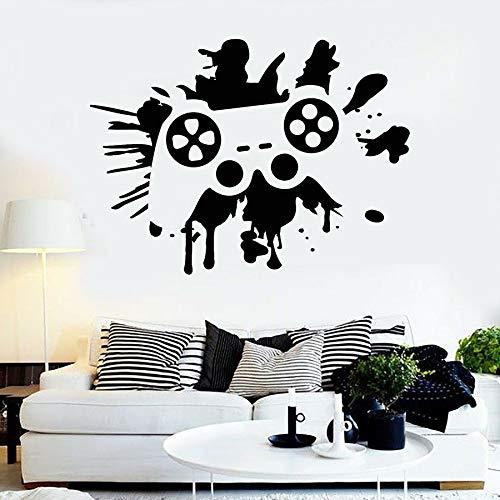 WERWN Adesivo murale per Giocatore Joystick Gioco cinematografico Adesivo per Finestra in Vinile Zona di Gioco Sala Giochi Camera da Letto per Bambini Decorazione Domestica Schizzi di Inchiostro Art