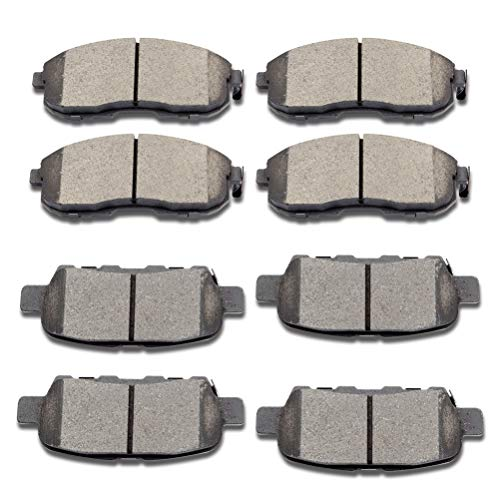SCITOO Ceramic Front Rear Disc Brake Pad Set fit for 2003-2005 for Infiniti G35, 2003-2005 for Nissan 350Z, 2007-2013 for Nissan Altima, 2011-2017 for Nissan Juke, 2007-2012 for Nissan Sentra
