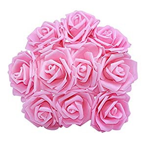 10PCS 8CM PE Foam Big Artificial Rose Flowers Wedding Bride Bouquet Wreath Fake DIY Home Flower Decorations,Pink