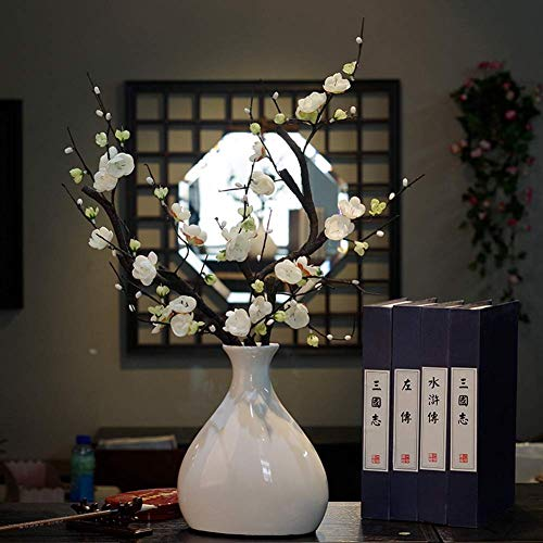 XYSQWZ Vase Grave Ceramicsimulation Flower Fake Plum Suit Home Room Decoration Study Porch Decorative Floral for Flowers,a