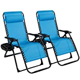 Goplus 500-lb Zero Gravity Chairs 2PCS, Oversized Recliner with Cup Holder, Plus Sized Folding Chaise for Indoor and Outdoor (Blue)
