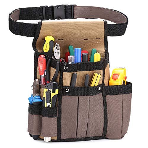 BAIGIO Werkzeugtasche Werkzeug-Gürteltasche Hüfttasche Werkzeuggürtel für Werkzeug Hammer und Zubehör (Khaki)