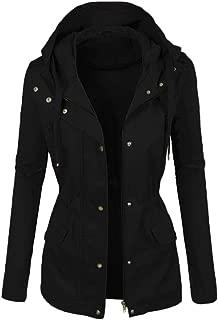 TIANTI Women's Jacket Zip Up Safari Military Jacket with Hood Drawstring Windbreaker Parka Hoodie Jackets Cardigan Coat