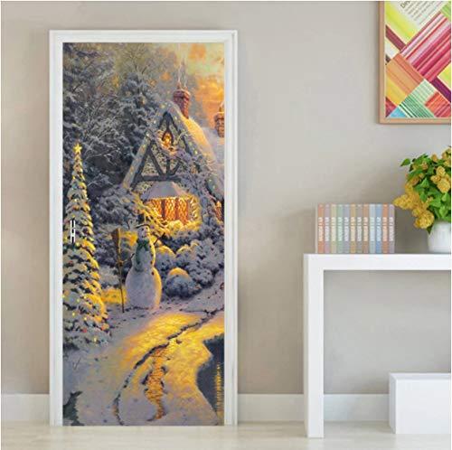 Pintura al óleo Madera llana Muñeco de nieve Etiqueta de la puerta 3D Autoadhesivo Papel pintado impermeable Calcomanías Decoración para el hogar Etiqueta de la pared de la puerta 90x200cm