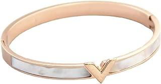 Titanium Steel 18k Gold Color V Letter White Shell Women's Bangle