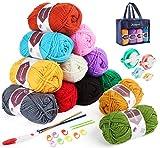Homewit Gomitoli di Lana, 12 Colori*50g Premium Cotone Acrilica Filato e 2 uncinetti + Telaio per Realizzare Pompon in 4 Misure Diverse per Fluff Balls, Knitting Projects