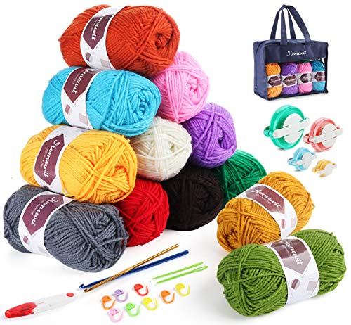 Acrylic Yarn,Homewit 12 Color*50g Double Knitting Yarn + 2 Crochet Hooks and Yarn Pom Pom Makers kit...