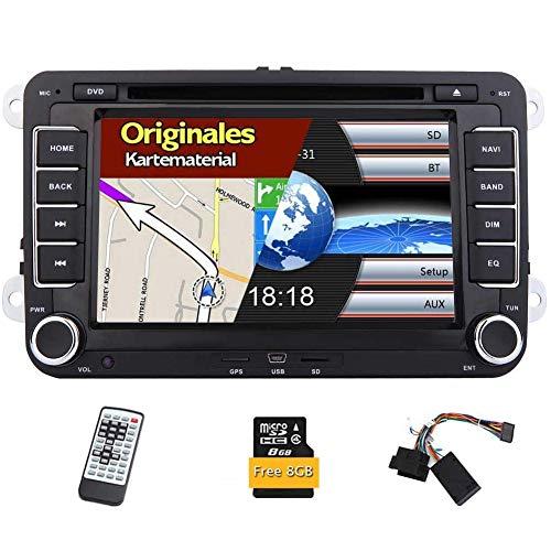 2 DIN Bluetooth Autoradio 7 Pulgadas de Pantalla Completa del GPS Sat Navi del Coche DVD Reproductor doble din auto estéreo de adeo de la Ayuda FM Am para VW Passat Volkswagen Golf Touran Skoda en el