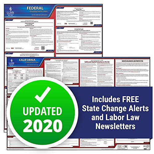 2020 California State and Federal Labor Law Poster Set (English, CA State) - OSHA Compliant Laminated Posters - Includes FFCRA Poster