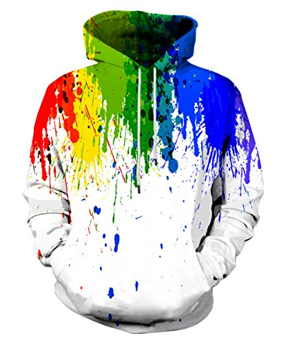 Neemanndy Unisex White Colorful Paint Drip Hoodie 3D Watercolor Graphic Rainbow Sweatshirts for Young Men Women, Medium
