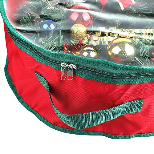 FGASAD Christmas Wreath Storage Bag, Transparent Xmas Garland Round Storage Container Protect Bag with Handle, Zippered, 20 x 6inch