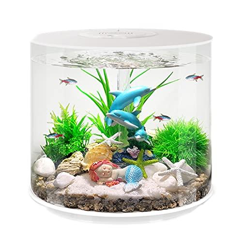 DUTUI Kleines Desktop-Wasserwechsel-Aquarium des Haushalts, Zylindrisches Goldenes Aquarium Im Wohnzimmer Und Im Büro, Ökologische Landschaftsdekoration,Blau