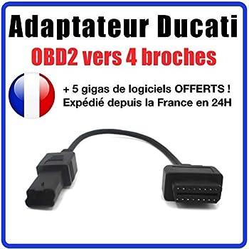 Add autodia Ducati MULTISTRADA Adaptateur 4/Broches Plug Adaptor for Logiciel OBD2/OBD Bike Moto Le Diagnostic Can Connector Adaptor