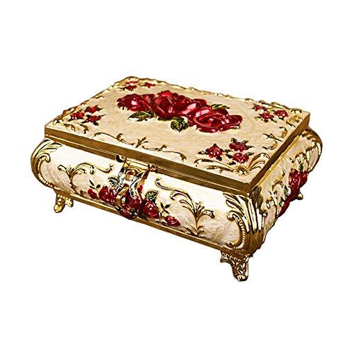 Coffret à bijoux merveilleux avec le cas Red Flower Storage Mirror Frame d'or