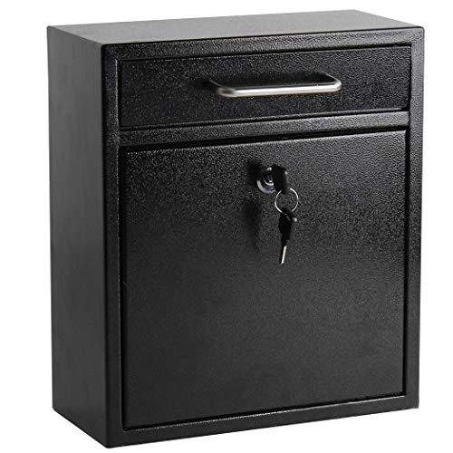 Display4top Wall Mounted Locking Drop Box Mailbox-Inter Office Mailbox-Letter Box,Ideal for Residential Deliveries, Schools, Office, Home, Mail Centers and More.(Black) (Medium)
