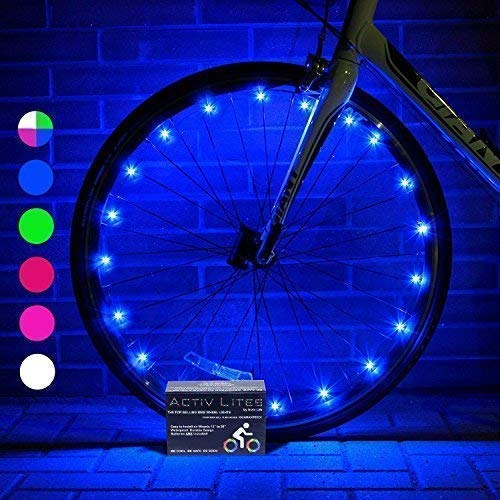Activ Life Bike Wheel Lights (2 Tires, Blue) Best Gifts for Christmas, Stocking Stuffers & Birthday Presents for Boys 3+ Year Old and Teens & Men. Top Unique 2018 Ideas for Him, Dad, Brother, Uncle