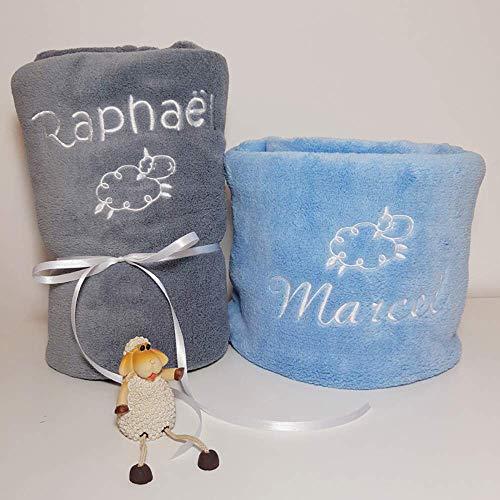 Plaid couverture personnalisée pour bébé, douce, BLANC, ROSE, CIEL, GRIS, 2dimensions, 20 motifs, cadeau de naissance, cadeau bébé, cadeau baptême, plaid poussette, plaid cosy, doux