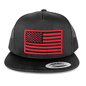 Flexfit 5 Panel American Flag Patched Snapback Mesh Charcoal Cap