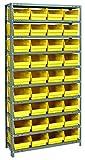 Quantum Storage 1275-207YL Store More Steel Shelving Unit with 6' Shelf Bins, 12' D x 36' W x 75' H, Yellow