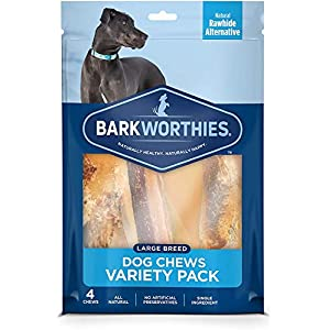 Barkworthies Healthy Dog Treats & Chews Large Dog Variety Pack (4 Chews) – Protein-Rich, Highly Digestible, Rawhide Alternative – Great Gift for All Dogs