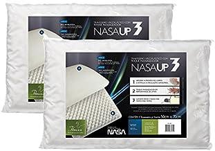 Kit 2 Peças Travesseiro Nasa Up 3 para Fronhas 50x70 cm, Fibrasca, Revestimento 100% Poliéster, Branco